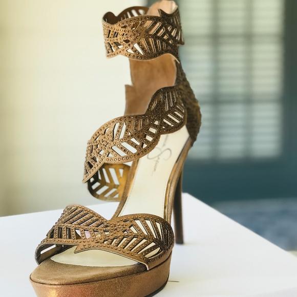 10de6303d5d Jessica Simpson Bronze Metallic High Heels Size 12
